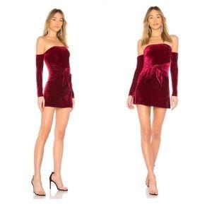 Lovers + Friends Lucia Burgundy Velvet Dress NEW